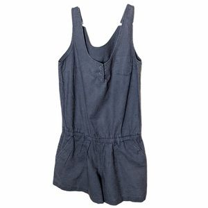 New York blue linen cotton romper shorts, size XS
